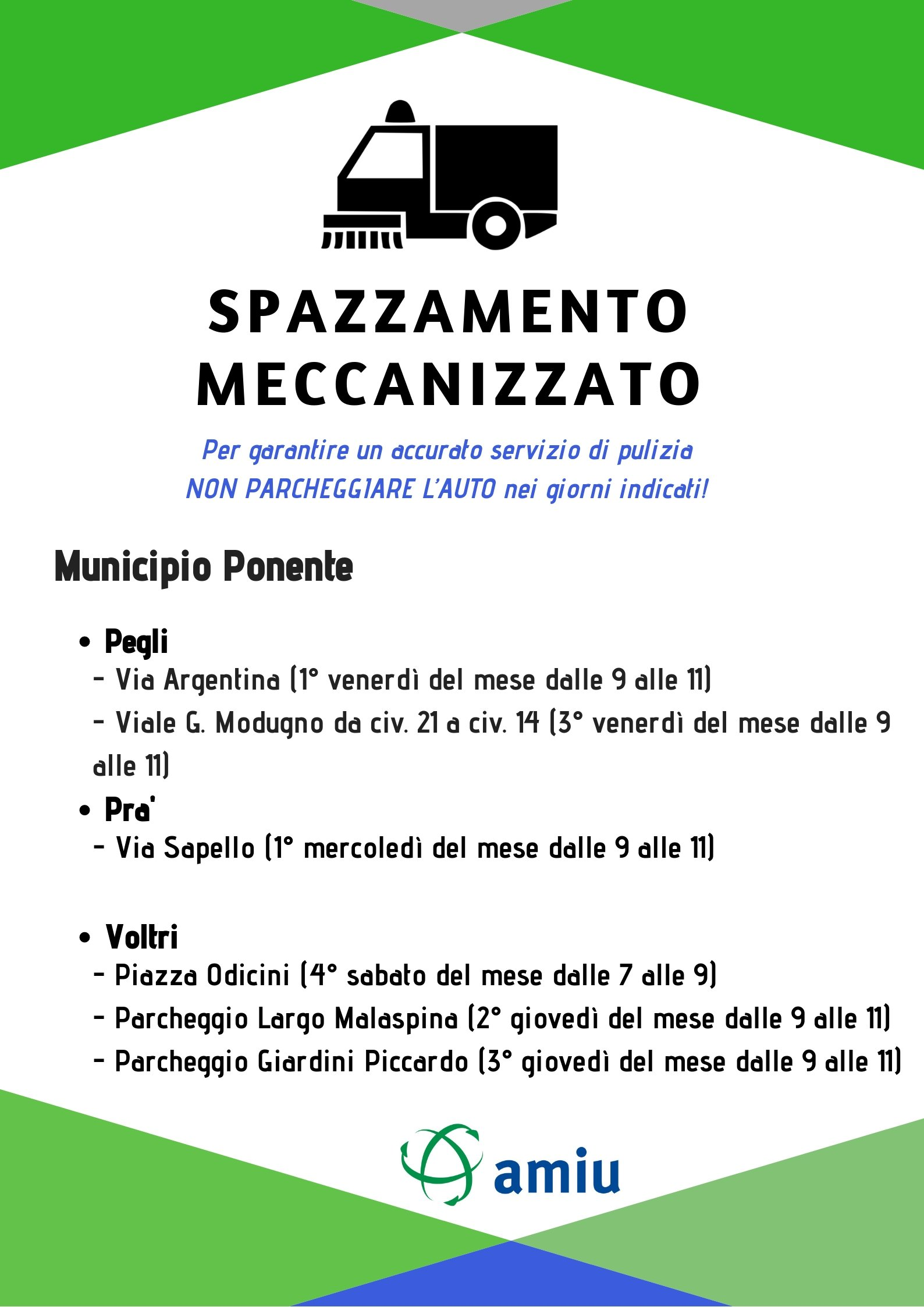 Calendario Pulizie.Pulizia Tombini E Spazzamento Meccanizzato Amiu Genova